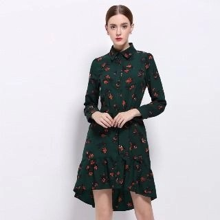 Tie-Waist Floral Shirtdress