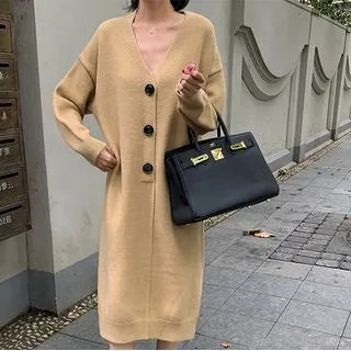 A7 SEVEN Long-Sleeve Knit Midi Dress