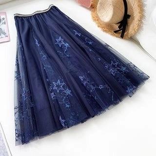 englard Star Embroidered Sequined Mesh Skirt