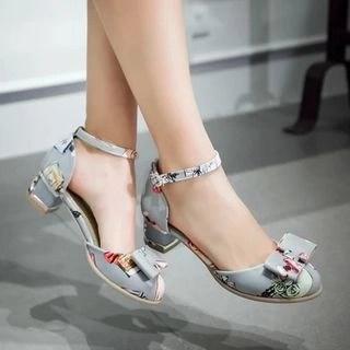 Printed Bow Block Heel Sandals