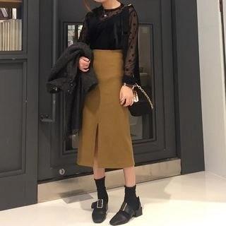 Plain High Waist Midi Skirt