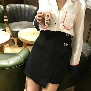 Ring-Accent High-Waist Woolen A-Line Skirt