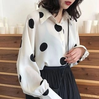 A7 SEVEN Long Sleeve Polka Dot Chiffon Blouse