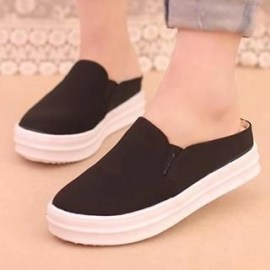 Canvas Backless Slip-Ons