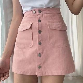Kamakura Buttoned A-Line Mini Skirt