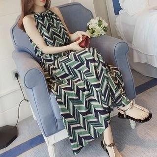 Allury Patterned Halter A-Line Dress