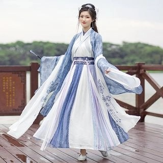 Nuwa Hanfu Set: Light Jacket + Long-Sleeve Top + Maxi Skirt + Scarf