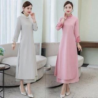 Diosa Traditional Chinese 3/4-Sleeve Midi Dress