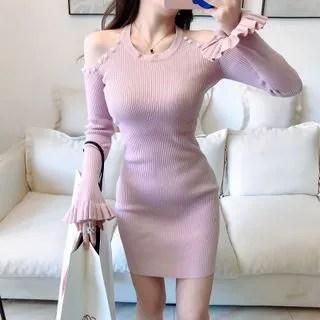 Sodoo Cold Shoulder Long-Sleeve Sheath Dress