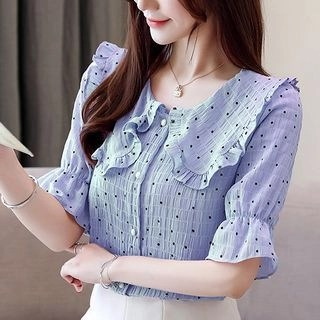 lilygirl Bell-Sleeve Dotted Blouse