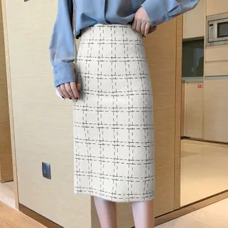 KANAMI Tweed Midi Fitted Skirt