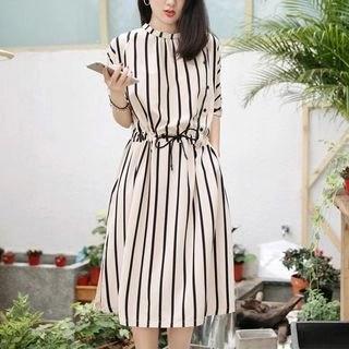 Allury Striped Short-Sleeved Dress