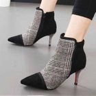 Plaid High-heel Pointed Ankle Boots