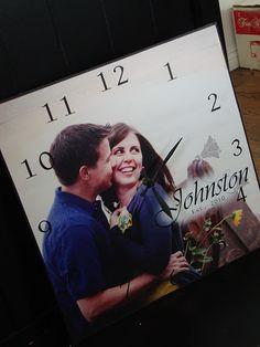 Clock with wedding photo