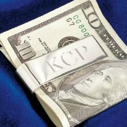 Silver monogrammed money clip