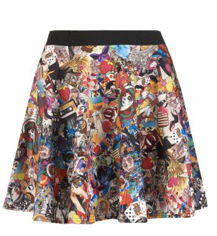 new look cartoon skater skirt PM