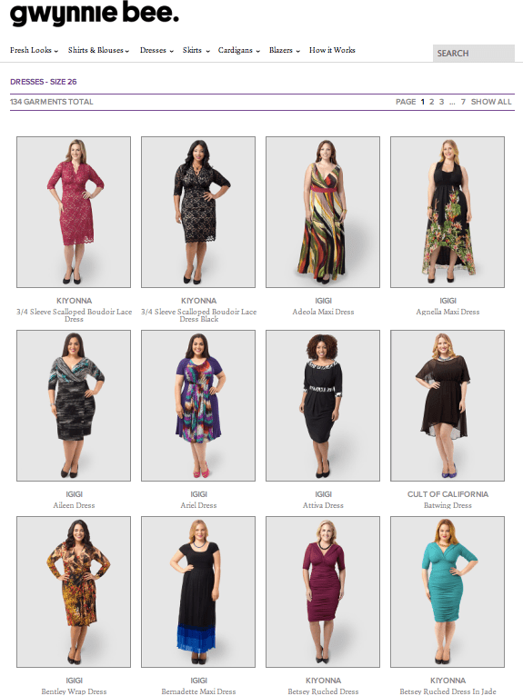 Twelve dresses of the 134 - Size 26 - that are available today