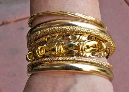 FROM THE TOP DOWN Fine Jewelry purchased in Ireland Torrid Bangle - Hollow Old Bangle - Lane Bryant Variety of necklaces and small bracelets attached together and wrapped Torrid Solid and Hollow Bracelets