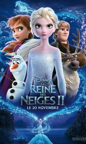 affiche du film la Reine des neiges qui présente Anna, Elsa , Olaf et Kristoff dans un tourbillon de magie