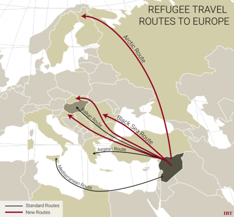 Routes utilized by refugees bring them first to the peripheral states, many of which are least prepared to properly process asylum seekers. Image Source: www.ibtimes.com