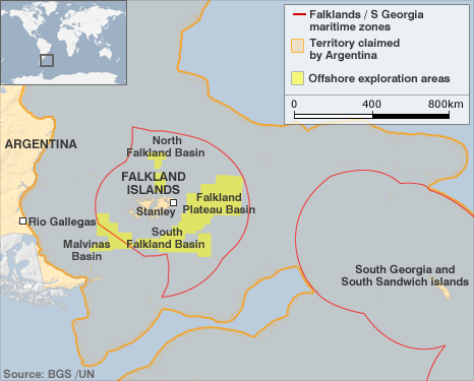 Argentina's claimed territory around the islands. UNCLCS acknowledged that the islands are within Argentina's EEZ in March 2016. Photo Credit: http://news.bbc.co.uk/2/hi/business/8520038.stm