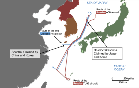 Routes followed by Chinese and Russian aircraft on 23 July