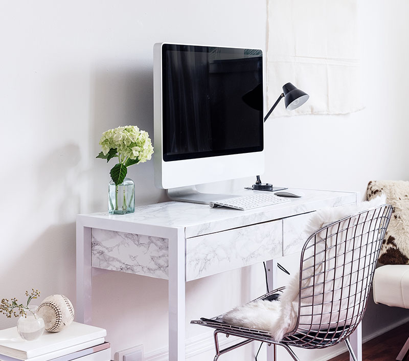 desk with computer and chair