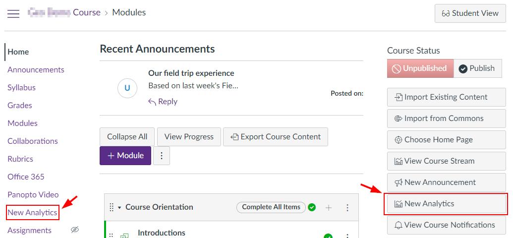 Where to access New Analytics