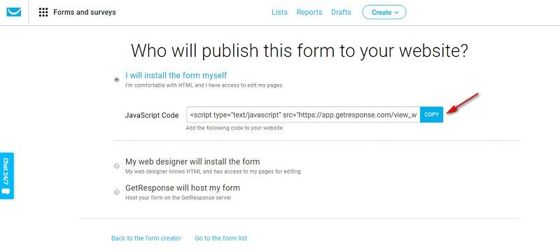 getresponse-create-form-publish-javascript-code
