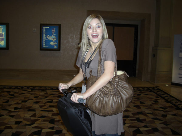 iJustine riding a Segway at Affiliate Summit West 2008