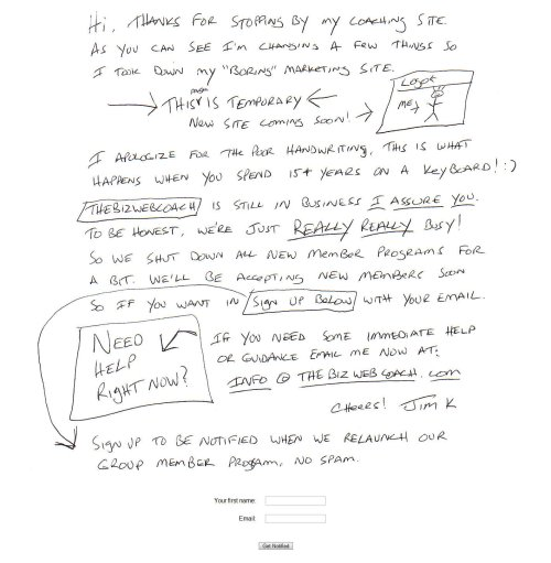 Hand Written Homepage