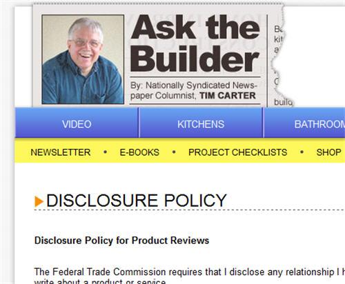 AskTheBuilder.com Disclosure Policy
