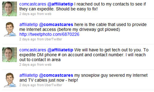 Help from Comcast on a Snowy Night