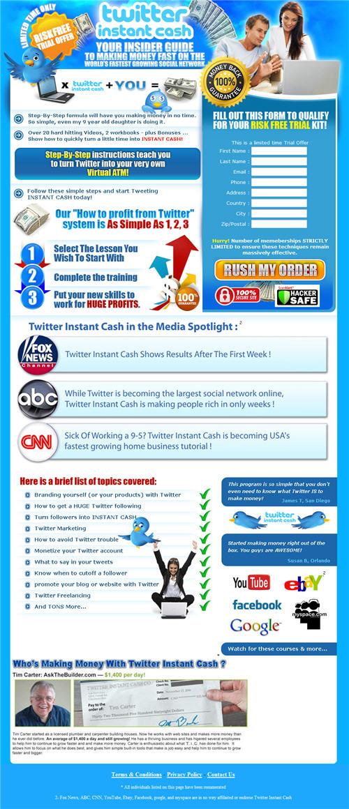 Twitter Instant Cash homepage