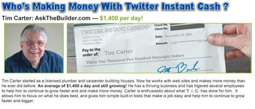 Twitter Instant Cash fake endorsement