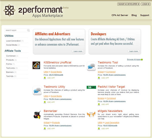 2performant affiliate apps marketplace