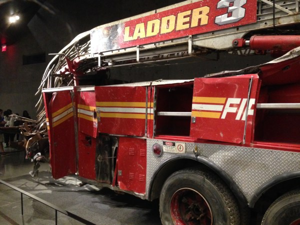 Damaged fire truck in the 9/11 Memorial Museum