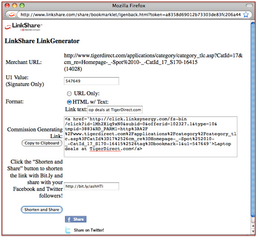 LinkShare bookmarklet