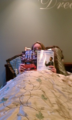 Tricia Meyer reading FeedFront Magazine