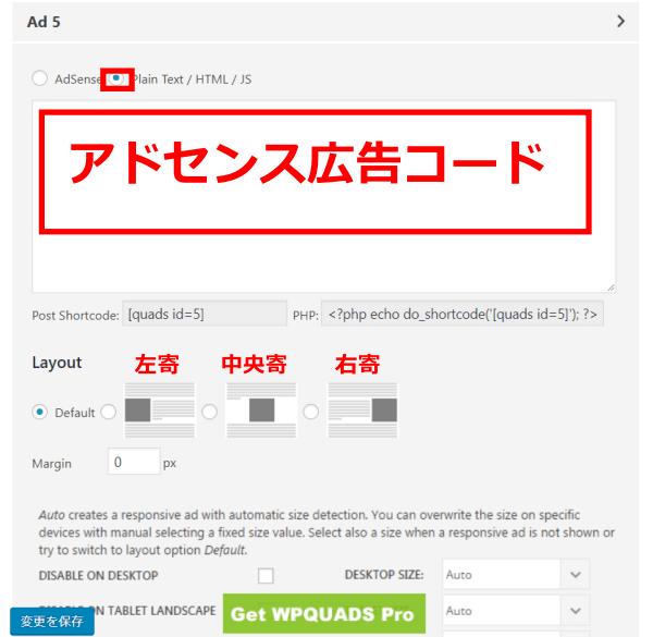 WPQUAD設定画面、Plain Textで貼りつける場合