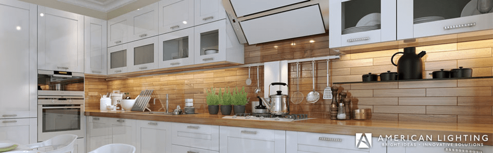 under cabinet lighting in a modular home