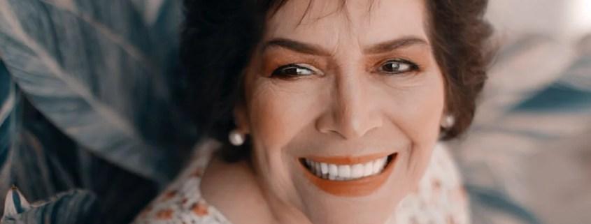 Senior woman with dental veneers smiles