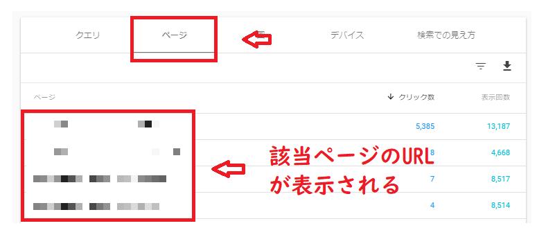 それぞれの検索クエリで検索されたページを探すには?