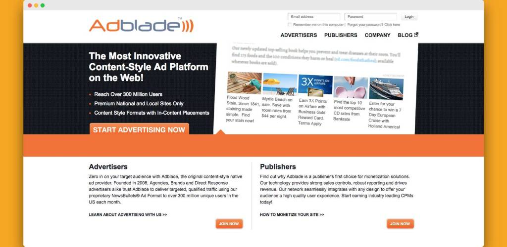 adblade network for native ads