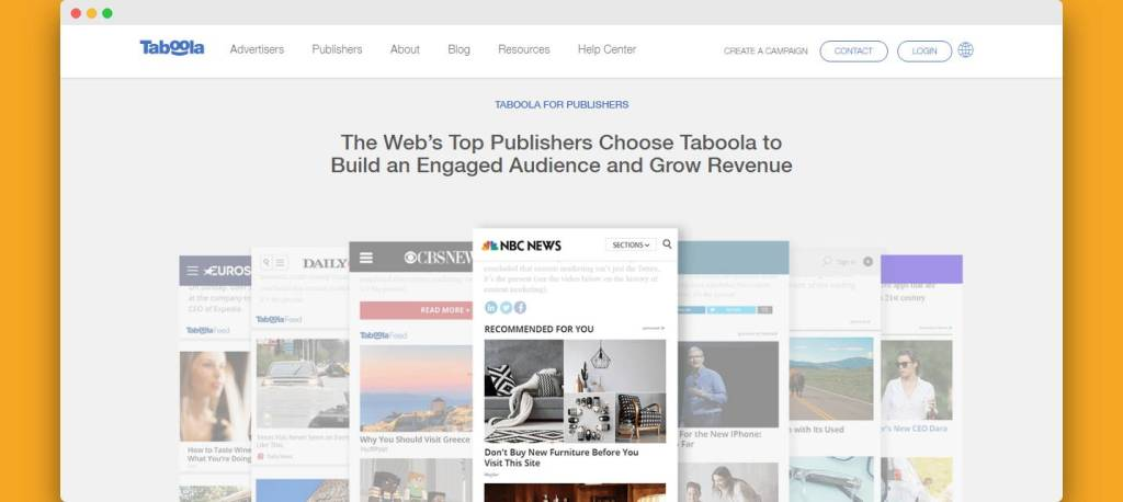 taboola native ads for publishers