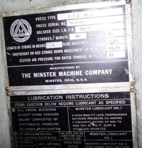 Minster 45 Ton OBI Press For Sale