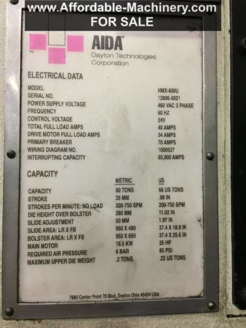 small resolution of 66 ton capacity aida press model hmx 600u for sale