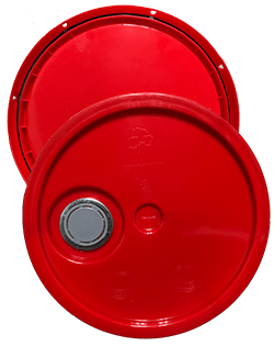 345 round pail lid with spout red