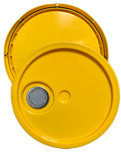 345 round pail lid with spout yellow