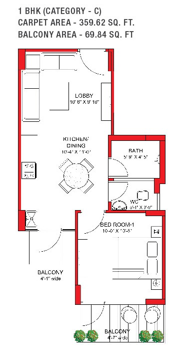 Signature Grand Iva 1 bhk Floor plan
